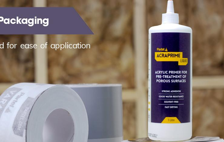 New packaging of Partel's Acraprime Liquid primer, tailored for ease of application.